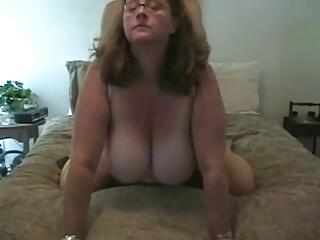 Wife with incredibly huge boobs sucks the dick and fucking.