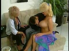 Mom with huge clit shares young man with friend